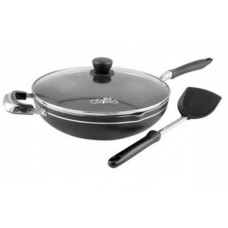 32cm wok with glass lid-non-stick