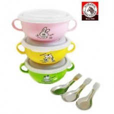 Kiddy Bowl & Lid With Cartoon Spoon