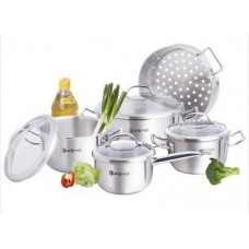 9 Pcs cookware set w/glass lid - Estio Pro -EPG-371