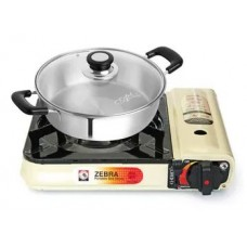 Portable gas stove with shabu pan 24cm with glass lid